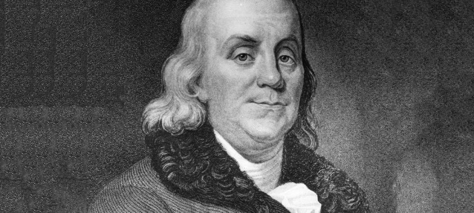 Circa 1750, Benjamin Franklin (1706 - 1790) American statesman, writer and scientist. Original Artwork: Engraving by J Thomson from an original picture by JA Duplesois. (Photo by Hulton Archive/Getty Images)
